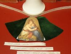 Weihnachts-Glocke Samt/Bild-Bastel-Set Mutter + Kind /Samt grün