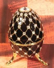 W&P Schmuck-Ei schwarz mit Steinen