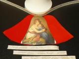 Weihnachts-Glocke Samt/Bild-Bastel-Set Mutter + Kind / Samt rot