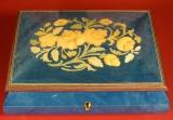 GIGLIO Spieluhr 146918 - Holzschatulle Blumen-Intarsien BL